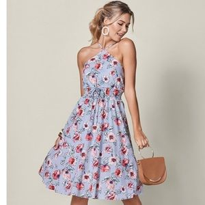 VENUS Floral Print Corset Midi Dress